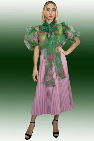 New green and Pink sheer top N by Nancy
