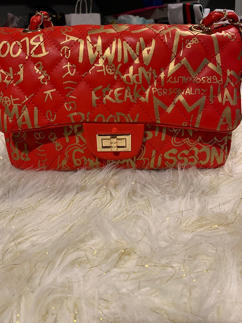 Red and gold graffiti handbag3423