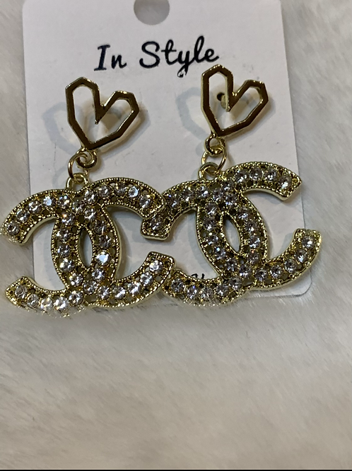 Beautiful  heart  CC dangle earrings