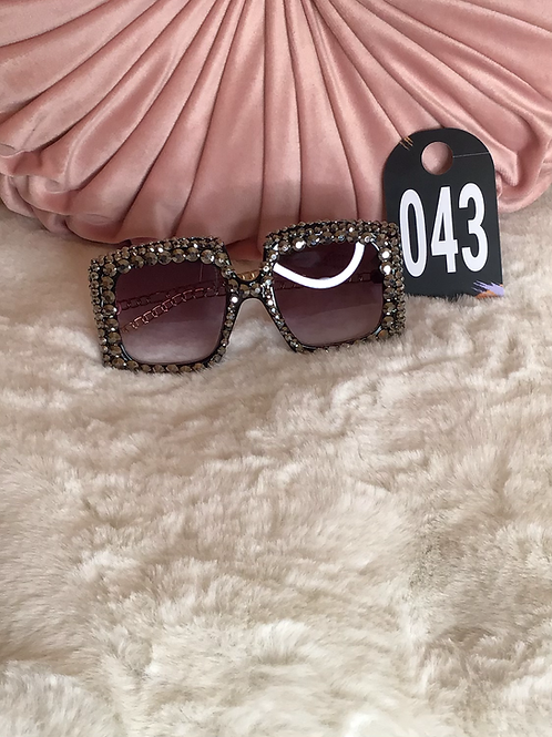 Blinged Out Square Shape Sunglasses 043