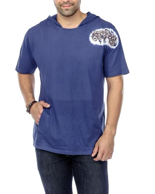 Cotton Blue  men hood  t shirt 20405