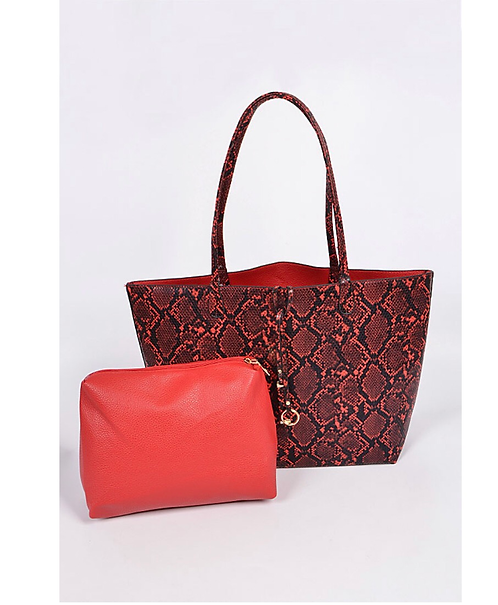 Red snake print tote  2-1