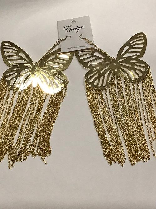 Bold Gold Tassel Butterfly Earrings