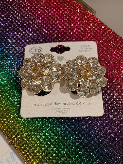 Cz flower clip earrings