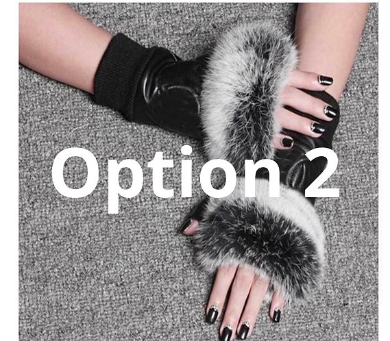 CC leather gloves fur fingerless
