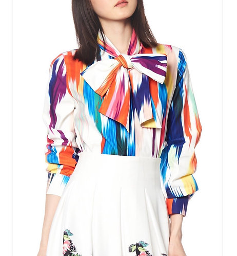 Gracia Rainbow Color Print Blouse with Bow T119913
