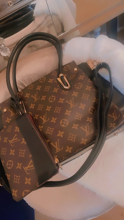 LV Inspired top handle crossbody with pouch
