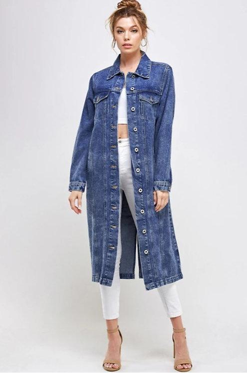 New DARK long denim jacket