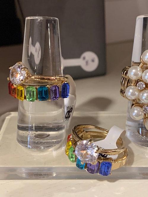Bling rainbow ring set
