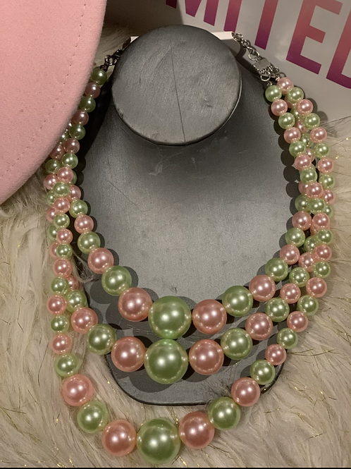 Pink and Green pearls necklace set  0059