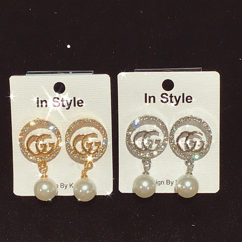 GG circle pearl drop earrings