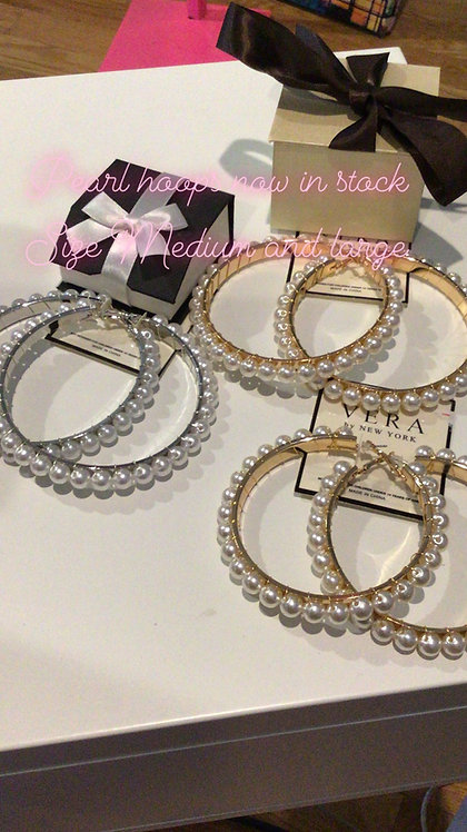Pearl Large hoops trim in gold