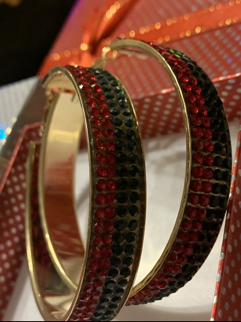 Red/green bling Hoops