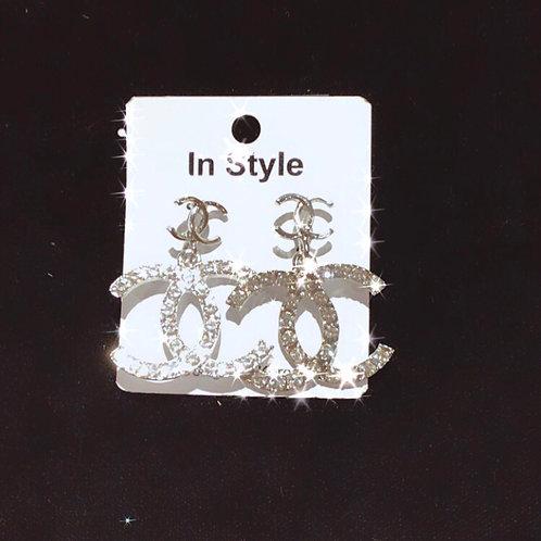 CC dangle diamond earrings Silver