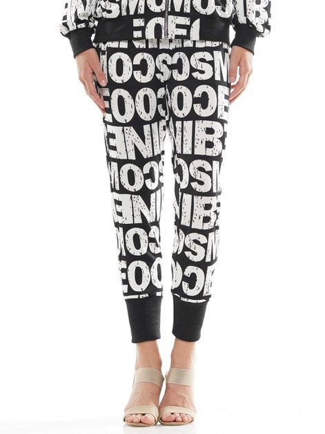 Word Print BLK/White (Pants) P191403B