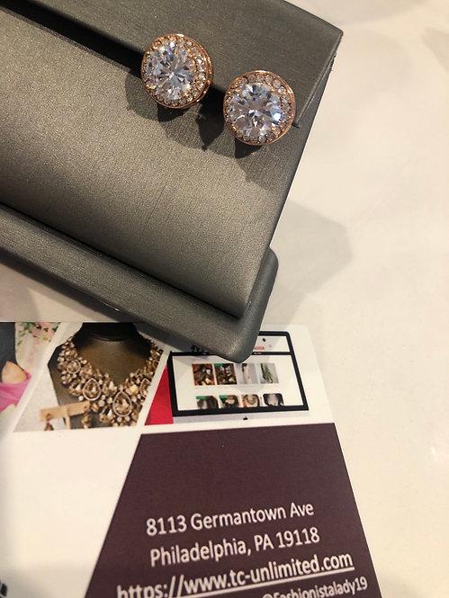 Large CZ post earrings