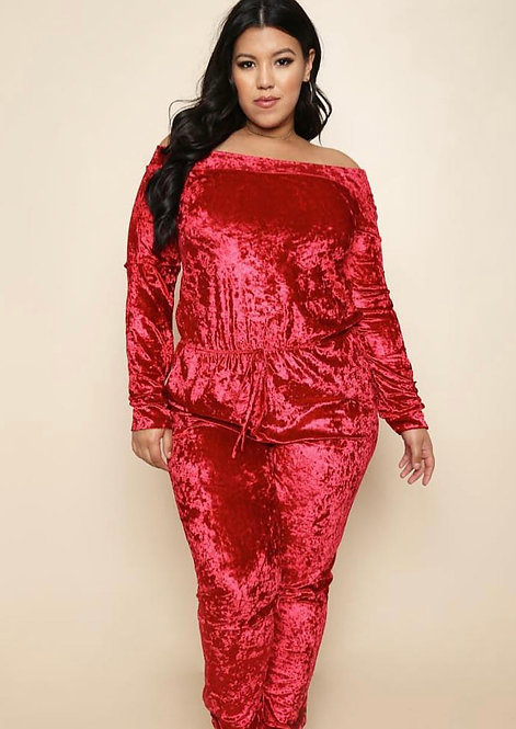 Plus size crush  red velvet jumpsuit