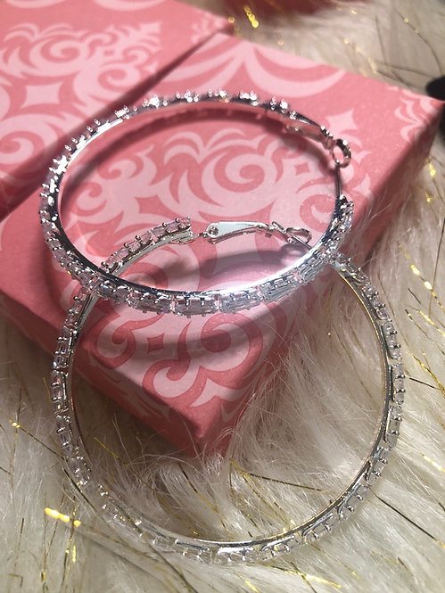 Premium  Cubic zirconia medium hoops
