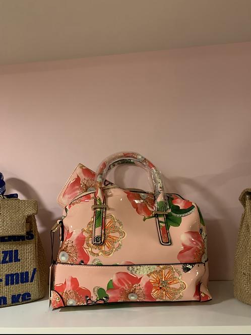 Pink flower handbag and wallet