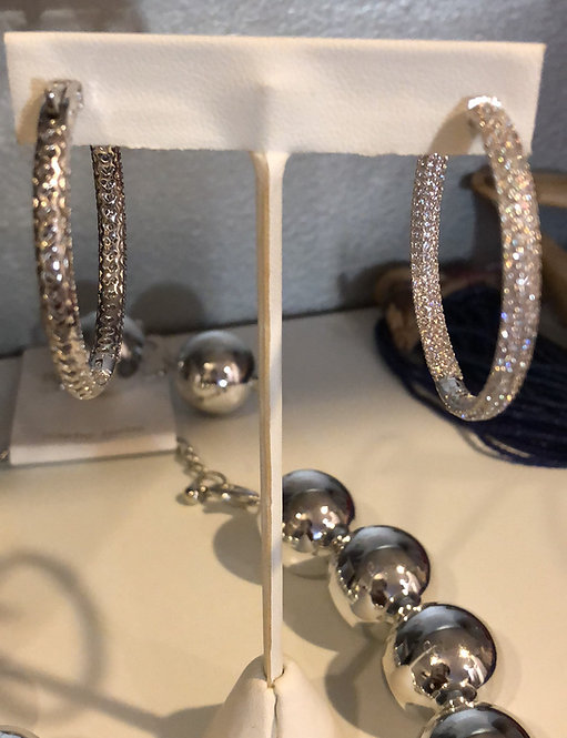 Medium size  pave hoops High quality cubic zirconia