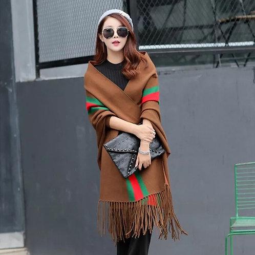 Red/green stripe Versitile Fringe shawl/scarf