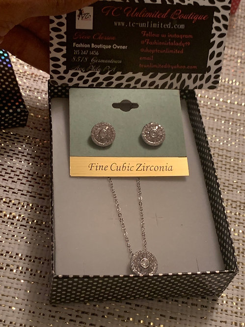 Rich girl bling Cz necklave and earrings set