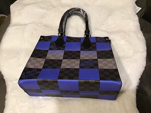 Black & Blue Checkered Lv Bag