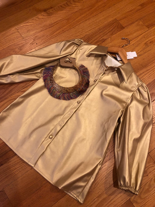 Gold button up Faux leather top sb825