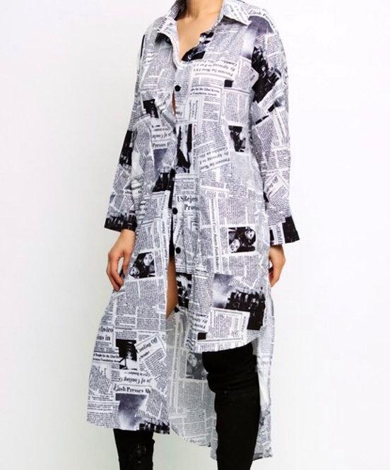 White/Black Magazine Dress