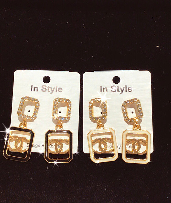 CC bottle drop earrings