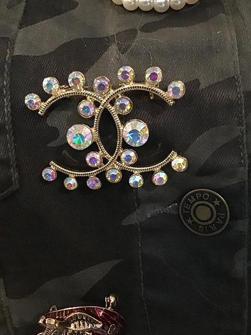 Designer Brooch pearl CC inspired