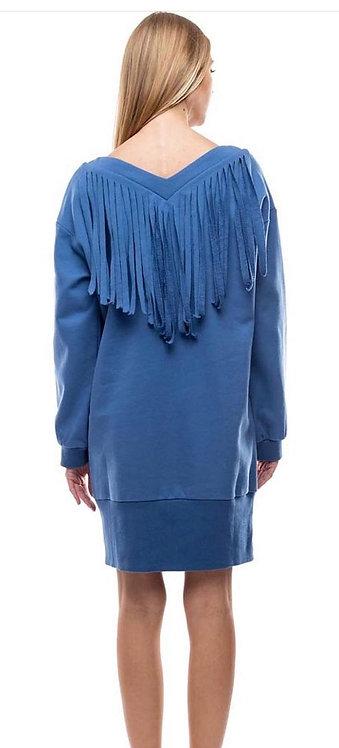 Tov  V-neck fringe midi dress