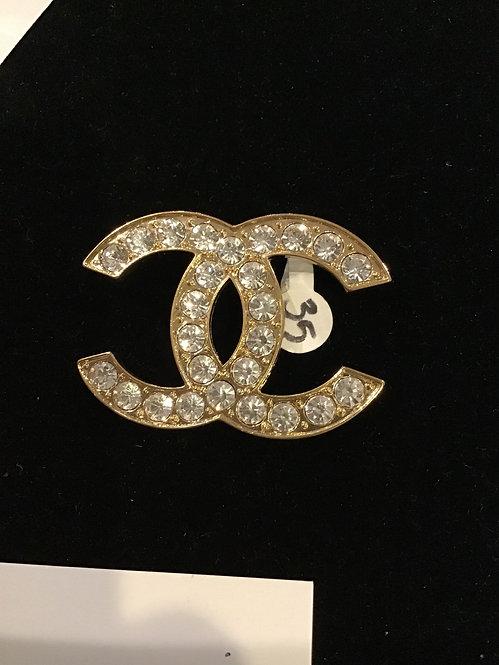 Large gold Cc brooch 003