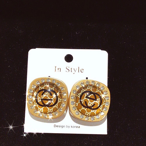 Inspired GG button stlye brown post earrings
