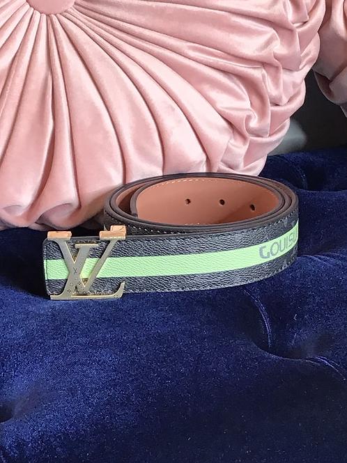Inspired LV Black and Green Belt 110