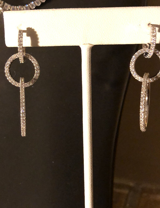 Rhodium Plated Sterling Silver Open CZ Circles