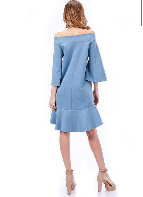 Tov 3/4 sleeve off-the-shoulder dress w/ ruffled hem