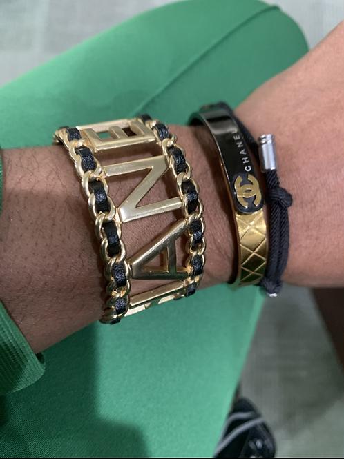 Inspired CC  braided cuff  bracelet