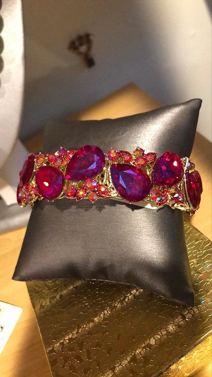 Pink large rhinestone bracelet