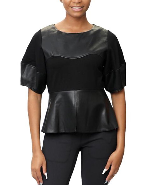 Gracia leather Peplum Shirt