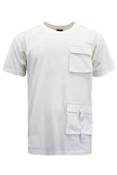 Men White cargo pocket top