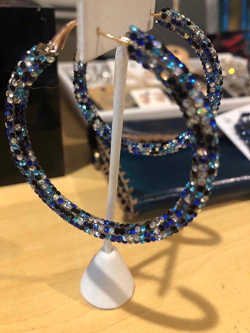 Multi blue rhinestone hoops  medium
