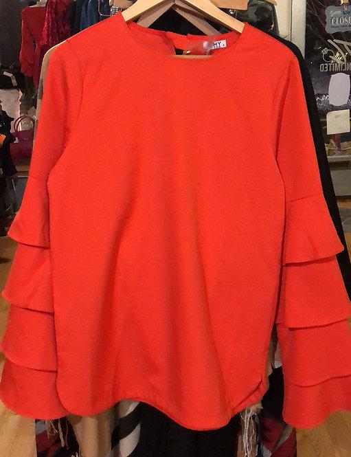 Orange button belle sleeve blouse