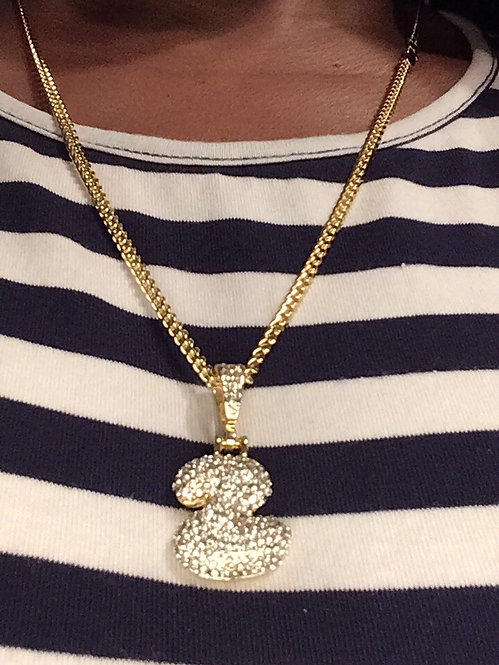 Gold plated bling initial necklace