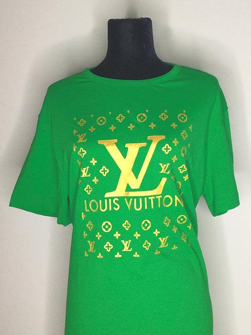 LV inspired green design T-shirt