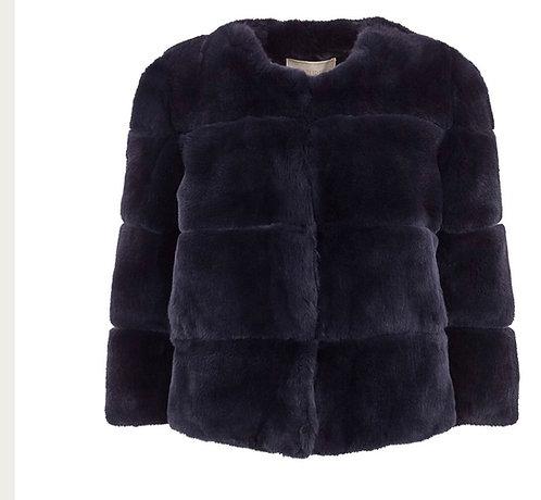 Blue Rex fur jacket size 5 fits Large -Xl
