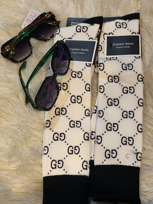 GG white/black long socks
