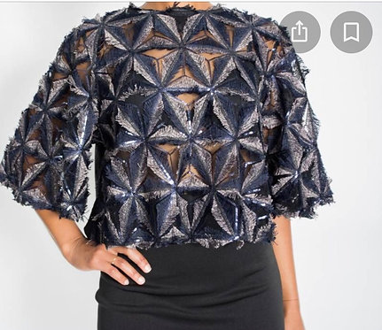 Gracia Sequin Pinwheel Crop Top T20525