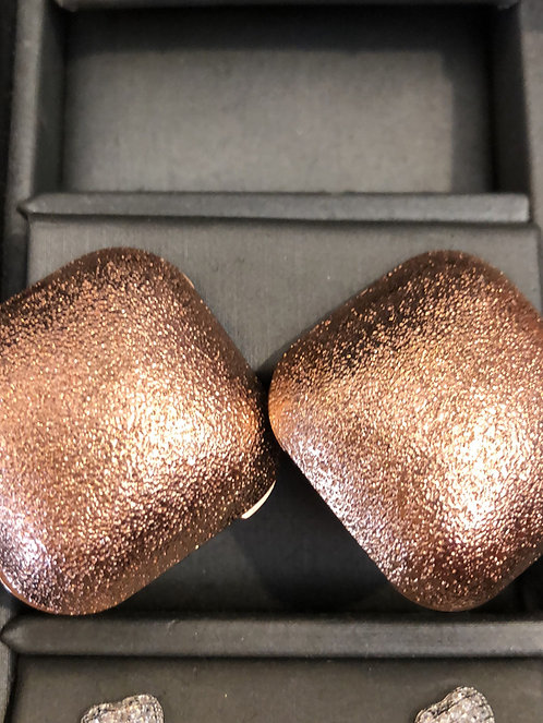 Large square rose gold post earrings
