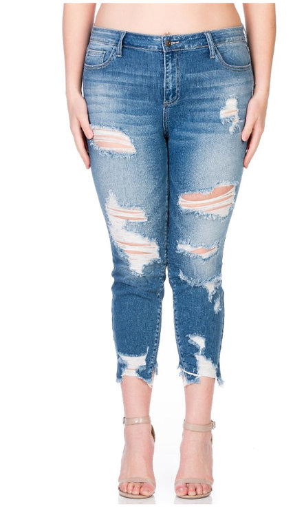 Plus size destroyed ankle cut out jeans